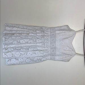 Slightly Used- embroidered white lace mini dress